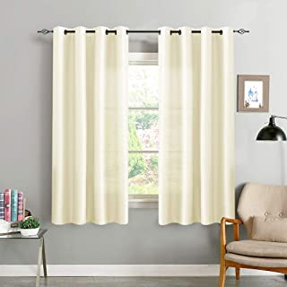 Faux Silk Dupioni Window Curtains for Living Room 63 inch Long Light Reducing Curtain Panels for Bedroom Grommet Top Satin Window Treatment Set Light Gold 2 Panels