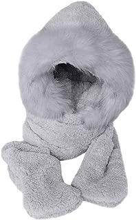 Zainafacai Cute Ears Women Hats, Winter Warm Faux Fur Caps Fluffy Hood Hat Snood Pocket Hats Gloves