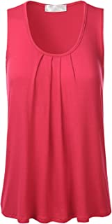 FLORIA Womens Round Neck Pleated Front Sleeveless Stretchy Blouse Tank Top (S-3XL)