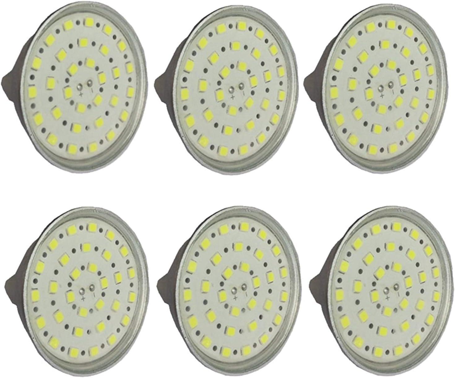 YQGOO MR16 5W Bombillas LED para focos 24V, 36V GU5.3 Bombillas LED, Equivalentes a 50W de halógeno, AC/DC 24-40V, 6W 450-500LM, No Regulable, con Cubierta de Vidrio Transparente Paquete de 6