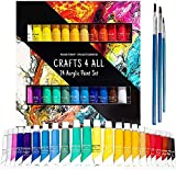 Acrylic Paint Set by Crafts 4 ALL Perfect for Canvas, Wood, Ceramic, Fabric. Non Toxic & Vibrant Colors. Rich Pigments Lasting Quality for Beginners, Students & Professional Artist (24 Color Pack)
