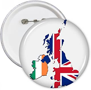 DIYthinker Union Jack Royaume-Uni Royaume-Uni Irland Carte Pays Ronde Pins Badge Bouton Décoration Vêtements 5pcs Cadeau M...