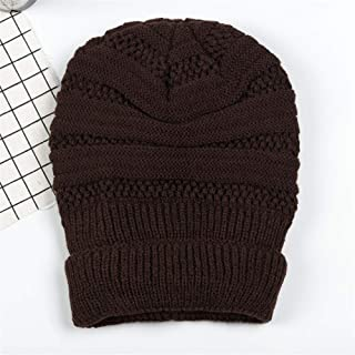 Hat Fashion Daily Slouchy Hat Solid Color Women Winter Knitting Wool Warm Hat Fashion Accessories (Color : Coffee corlor)