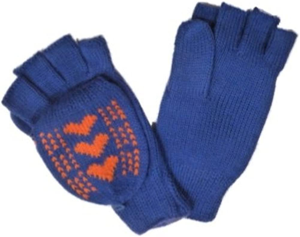 Urbanology Womens Blue & Orange Fingerless Knit Gloves Convertible