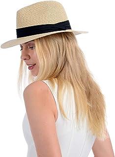 Womens Straw Hat Fedora Beach Sun Hat Fine Braid UPF50+ Wide Brim Straw Panama Roll up Hat