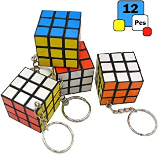 Mini 3x3 Cube Keychains, 1.2 Inch Speed Rubik's Key Ring, 12 Pcs