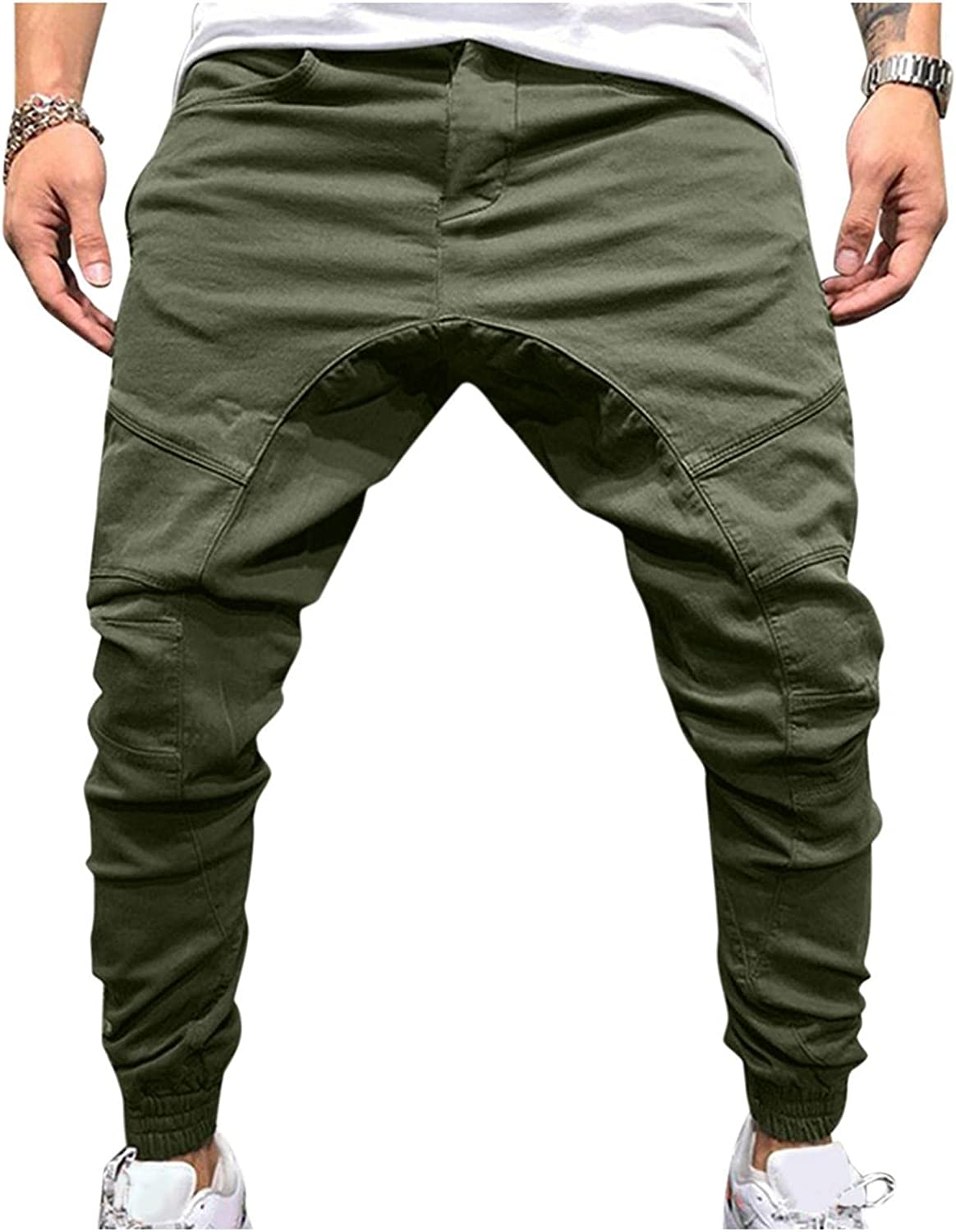 WOSHUAI Men's Big & Tall Sweatpants Casual Solid Fitted Jogging Running Athletic Pants Trendy Zipper Pockets Trousers