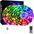QZYL 75ft LED Lights for Bedroom, RGB LED Strip Lights for Living Room, Party Decor with Dimmable Lighting, Bright Adjustable Colors, and 8 Lighting Modes, Adhesive Backing