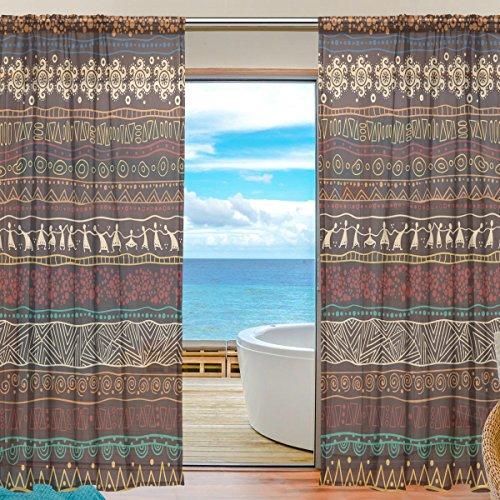 yibaihe Fenster Vorhänge, Gardinen Platten Fenster Behandlung Set Voile Drapes Tüll Vorhänge Braun afrikanischen Muster 198cm lang für Wohnzimmer Schlafzimmer Girl 's Room 2Platten