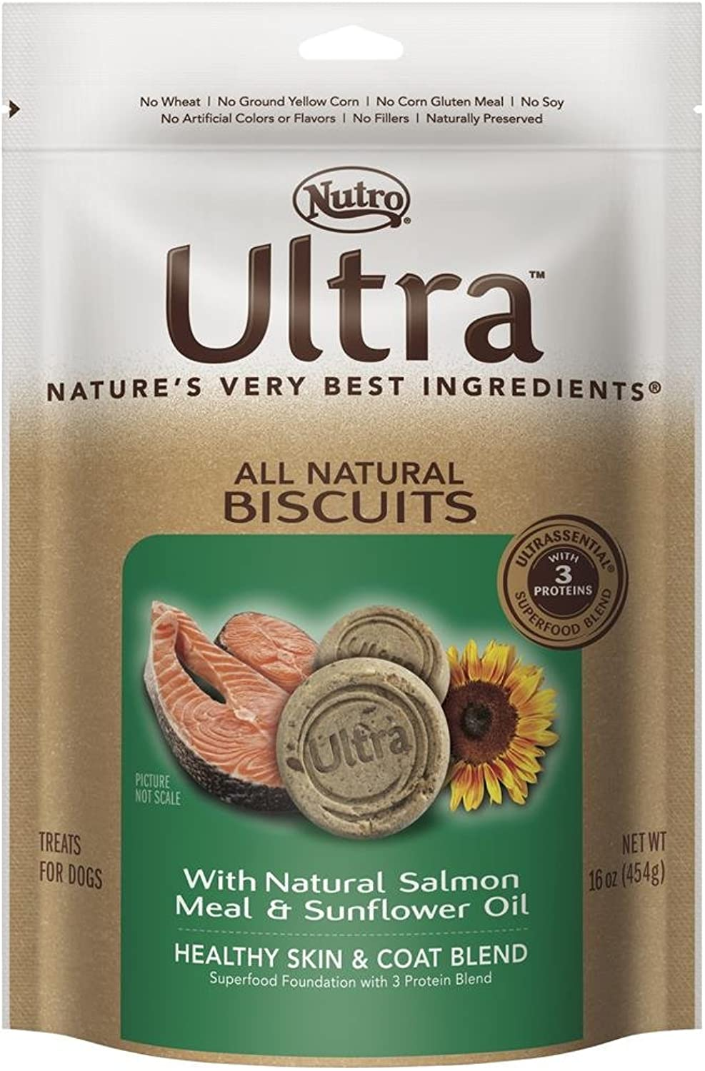 Nutro Ultra Healthy Skin and Shiny Coat All Natural Dog Treat with Salmon and Sunflower Oil, 16 oz.