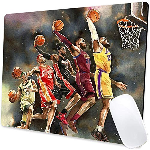 Gaming Mouse Pad,MVP Basketball Mouse Pad Non-Slip Rubber Base Mouse Pads for Computers Laptop Office, 9.5'x7.9'x0.12' Inch(James,240mm x 200mm x 3mm)
