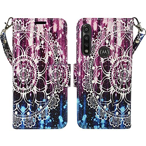 Zase Motorola Moto G Fast (2020) Wallet Phone Case Design Pouch Folio PU Leather Flip Cute Cover w/Kickstand ID Holder Card Slot Wrist Strap for Verizon Boost Moto G Fast (Purple Mandala Flower)