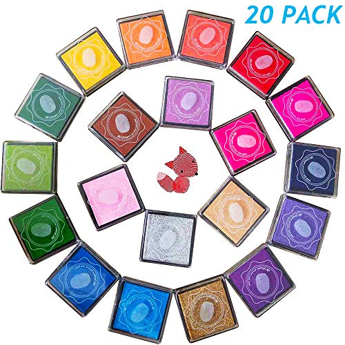 20pcs Craft Ink Pad,Stamps Pads,20 Colors Rainbow Finger Ink Pads for Kids DIY as Gifts,for Stamps,Paper,Wood Fabric