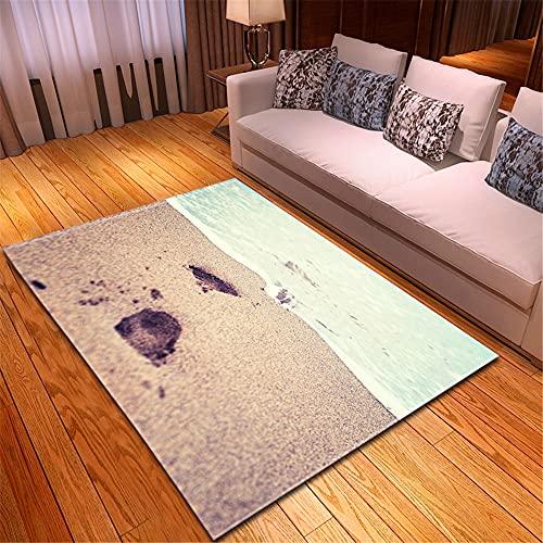 XuJinzisa Vista Al Mar Huella De Playa Alfombra De Impresión 3D Suave Antideslizante Habitación De Los Niños Sala De Estar Dormitorio Alfombra Decorativa para El Hogar 180X260Cm H11659