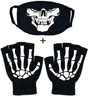 stylish14 Fingerless Skeleton Gloves and Mouth Mask Glow in Dark Unisex Hand Warmer Riding Knit Gloves Skull Mask Set Black