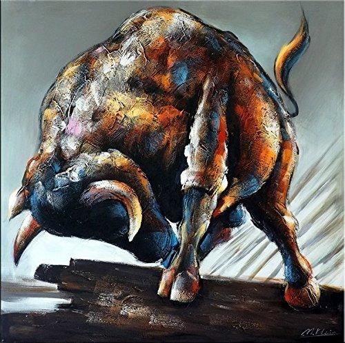 Kunst & Ambiente - Entfesselt - Abstrakter Stier/Bulle - Acryl auf Leinwand - Martin Klein - Modern Art - Stierbild - Stiergemälde - Wandbild - Gemälde - Taurus - 100x100cm