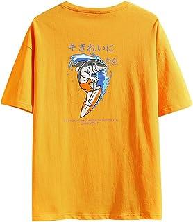 花千束 ゆったり メンズ 半袖 tシャツ オシャレ 柄プリント ストリート トップス 夏 カットソー ダンス スポーツシャツ 大きいサイズ おもしろtシャツ