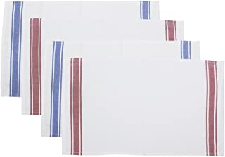 storeindya White Kitchen Towels & Cotton Dish Cloth Napkins Tea Towels Water Absorbent Machine Washable Drying Cleaning Everyday Use Christmas Thanksgiving Gift, (French Stripes 1), Pack of 4
