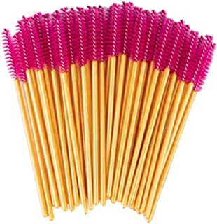 50Pcs/Pack Disposable Eyelash Brushes Eye Lashes Cosmetic Brush Mascara Wands Eyelashes Extension Tool Makeup Tools Rose Pink Golden