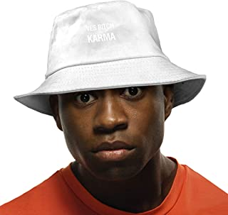 Adults Boys Girls Karma is A Beach Flat Top Bucket Sun Hat Fishing Hat for