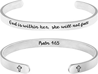 Christian Bracelets for Women Inspirational Religious Gifts for Her Bible Verse Bapstism Jewelry Cuff Bangle