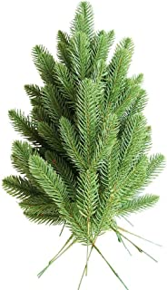 Htmeing 20pcs Artificial Pine Branches Faux Leaves Picks for Christmas Decor DIY Wreath (Pine Branch)