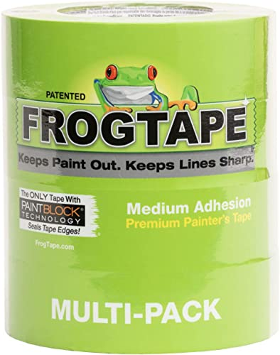 FROGTAPE 240660 Multi-Surface Painter's Tape with PAINTBLOCK, Medium Adhesion, 1.41 Inches x 60 Yards, Green, 4 Rolls