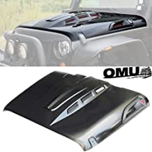 OMUOFFROAD The Avenger Style Replacement Hood Heat Dispersion Fits for 2007-2017 Jeep Wrangler JK JKU Unlimited Rubicon, Black