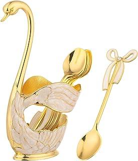 Light Luxury Metal Swan Coffee Spoon Set Retro European Classical Craftsmanship Compostable Cutlery Kitchen Utinsels Sets