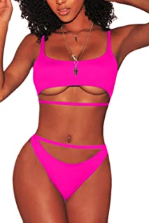 Women's Sexy Strappy Scoop Neck Cut Out High Waist Cheeky Swimsuits Bikini Sets