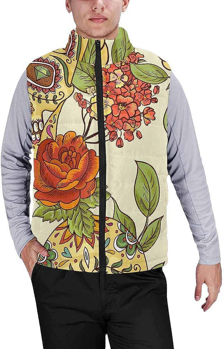 InterestPrint Men's Winter Lightweight Sleeveless Padded Vest Succulents and Cacti Plants