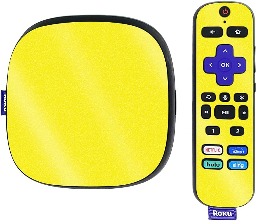 MightySkins Glossy Glitter Skin Compatible with Roku Ultra HDR 4K Streaming Media Player (2020) - Solid Yellow   Protective, Durable High-Gloss Glitter Finish   Easy to Apply   Made in The USA