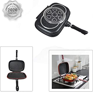 WAQIA Longma Double-sided Portable BBQ Grill Pan Nonstick Aluminum Alloy Double Omelette Square Pan Flip Pan Jumbo Grill C...