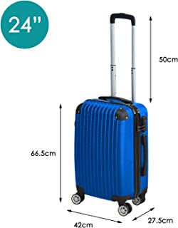 """24"""" Cabin Luggage Suitcase Code Lock Hard Shell Travel Case Carry On Bag Trolley Blue"""