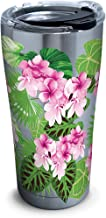 Tervis 1278812 Tropifloral Stainless Steel Tumbler with Clear and Black Hammer Lid 20oz, Silver