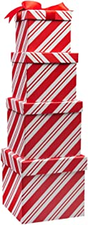 4 Boxes Candy Cane Christmas Nesting Boxes with Lids in 4 Assorted Sizes for Holiday Decorative Wrapping