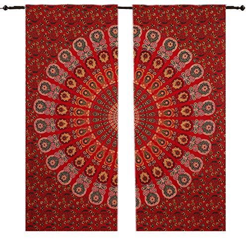 Pfauen-Mandala-Fenstervorhänge, Gardinen, Zimmer, Hippie, Tapisserie, Tür, Cutain, Dekor,