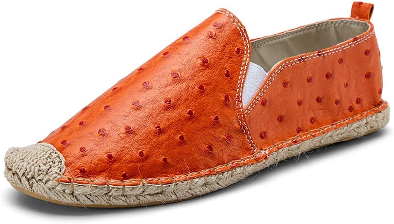 ZHRUI Mens Slip on Espadrilles Soft Sole Non Slip Casual Breathable Light Alpargatas (color   orange, Size   UK 6.5)