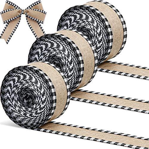 3 Rollos Cintas con Borde de Cable de Navidad de 30 Yardas x 2 Pulgadas Cintas de Búfalo a Cuadros Cinta Artesanal de Arpillera Cinta de Envolver Natural con Borde a Cuadros (Negro Rojo)