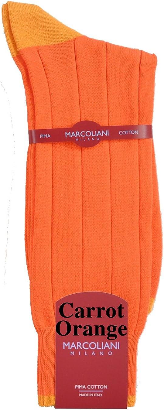 Marcolani Pima Cotton Contrast Top-Heel-Toe Mid-Calf Casual Socks
