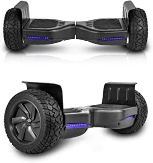 CHO All Terrain Black Rugged 8.5 Inch Wheels Hoverboard Off-Road Smart Self Balancing Electric Scooter With built-In Speaker LED Lights UL2272 Certified