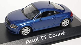 Audi TT Coupé Quattro 8N with Rear Spoiler Denim Blue Pearl 2000 Year - 2-Door Sports car - 1/43 Scale Collectible Model Vehicle - Dealer Edition