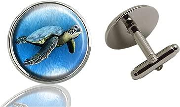 AmSun Sea Turtle Drawing Custom Jewelry Classic Tuxedo Shirt Cufflinks Men's Unique Business Gifts (2PCS)