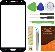 for Samsung Galaxy J7 J700F Black Replacement Screen Lens Glass Repair Kit,Front Outer Screen Glass Replacement with Adhesive Tape Tools Kit+Tweezers+Roll Micro Wire Screen Separator
