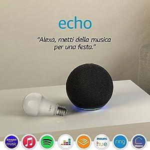 Echo (4ª generazione) - Audio di alta qualità - Antracite + TP-Link Tapo Lampadina Connessa (E27), compatibile con Alexa