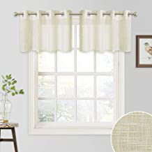 RYB HOME Sheer Curtain Tiers - Pleated Linen Textured Fabric Grommet Half Window Valance for Kitchen Cafe Valances, 52 inch Wide x 18 inch Long per Panel, Set of 2, Warm Beige