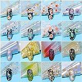 16 pcs. Hojas de Uñas Románticas Flor de Papel Estrellado Leopardo Serpiente Láser Shimmer Wrap Gel Uñas DIY Polaco Decoración Sticker Set