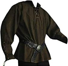 Mens Halloween Medieval Pirate Renaissance Shirts Lace Up Viking Costume Mercenary Scottish T Shirts Jacobite Ghillie Tops