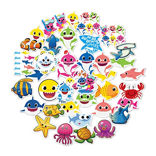 WYDML Children'S Cup Row Box Notebook Suitcase Decorated Graffiti Shark Baby Sticker 40Pcs