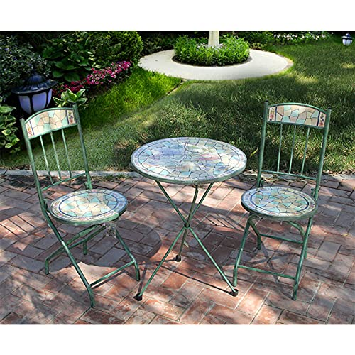 19.6' Folding Mosaic Side Table, Grand Patio 3 Piece Bistro Set, Flower Painted Tile Table Top Metal Art Flowerpot Holder for Garden And Home